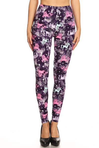 Brushed Frisky Unicorn Extra Plus Size Leggings - 3X-5X