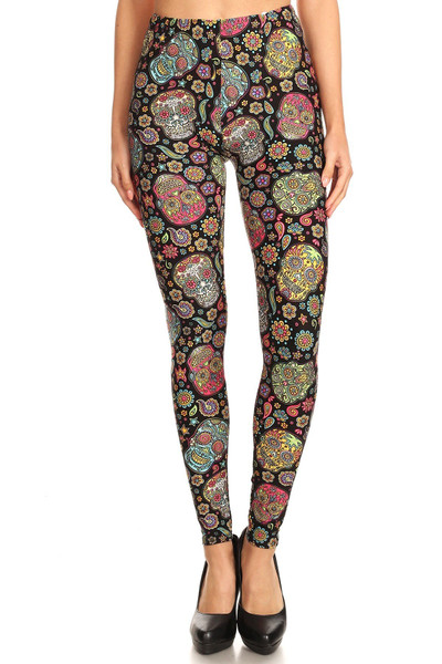 Brushed Mandala Sugar Skull Extra Plus Size Leggings - 3X-5X
