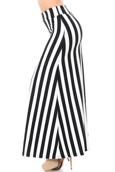 Brushed Black and White Wide Stripe Maxi Skirt