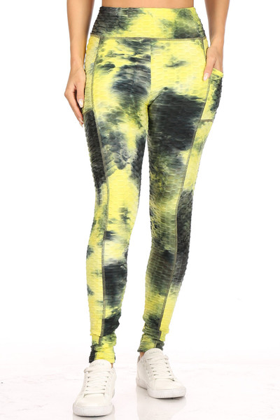 Premium Sport Sunshine Yellow Tie Dye Scrunch Butt Workout Leggings with Side Pockets