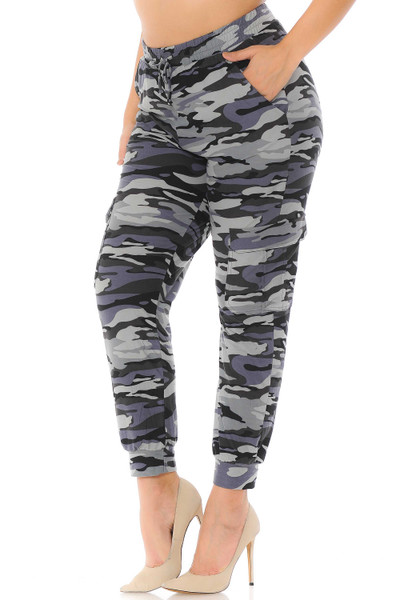 Brushed  Charcoal Camouflage Cargo Plus Size Joggers - New Mix