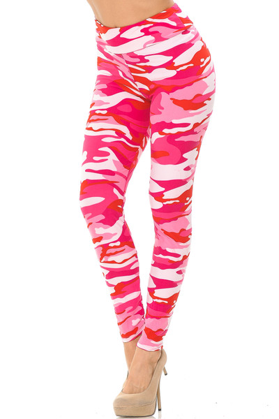 Brushed  Pink Camouflage High Waisted Leggings