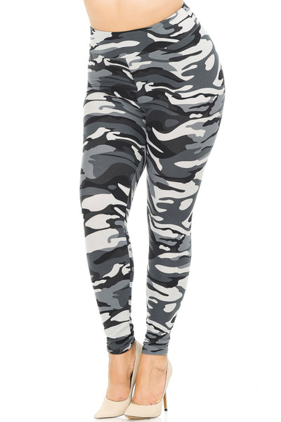 Brushed  Charcoal Camouflage High Waisted Plus Size Leggings