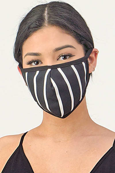 Women's Crepe Black White Striped Mask - Made in the USA - 3 Colors