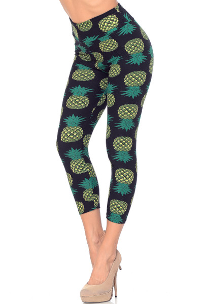 Buttery Soft Green Pineapple High Wasited Plus Size Capri - EEVEE