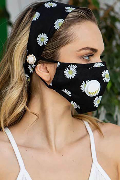 2 Piece Daisy Headband and Face Mask Set