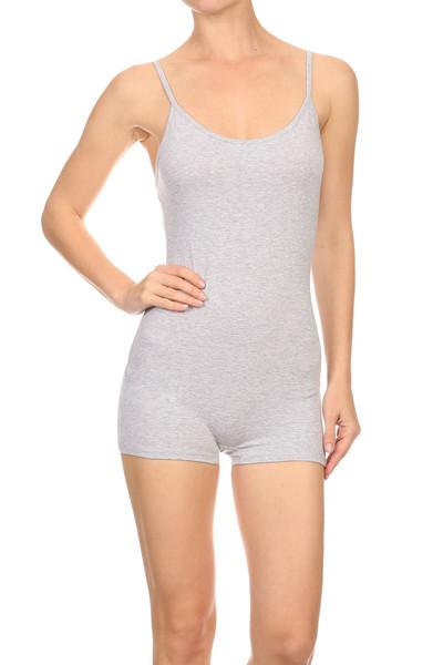 USA Basic Cotton Spaghetti Strap Short Plus Size Jumpsuit