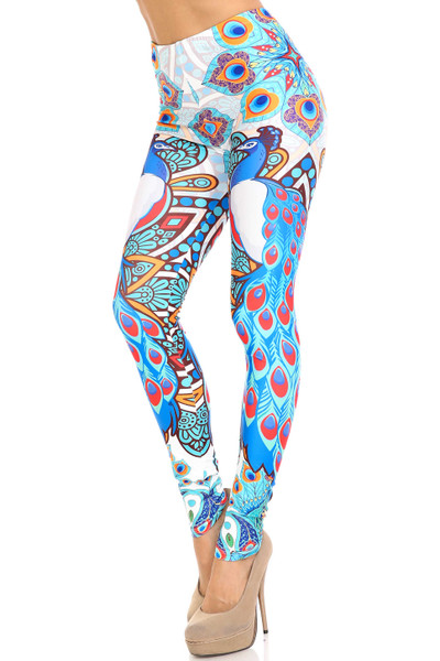 Creamy Soft Pristine Peacock Extra Plus Size Leggings - 3X-5X - By USA Fashion™
