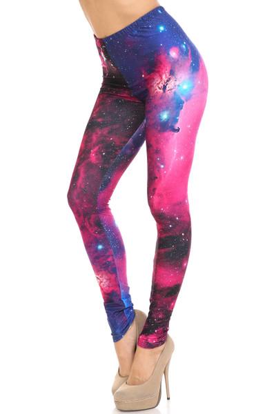 Creamy Soft Fuchsia Galaxy Extra Plus Size Leggings - 3X-5X - USA Fashion™