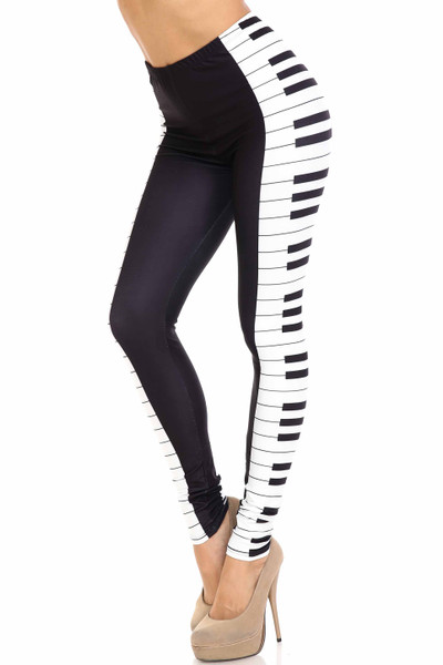 Creamy Soft Keys of the Piano Extra Plus Size Leggings - 3X-5X - USA Fashion™