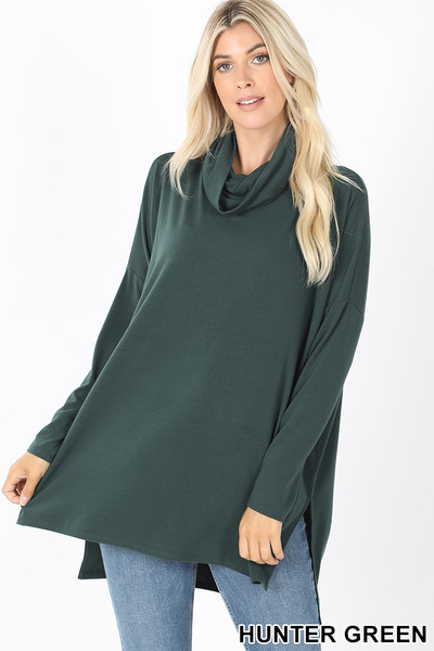 Front of Hunter Cowl Neck Hi-Low Long Sleeve Top
