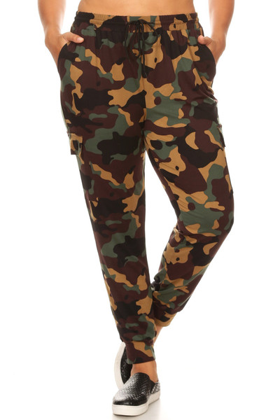 Brown Camouflage Cargo Plus Size Joggers