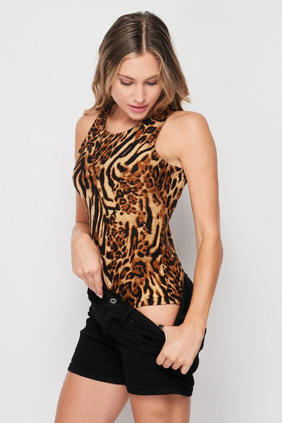 45 degree view of Brushed Safari Leopard Mock Neck Bodysuit with shorts pulled down to show the one piece look.