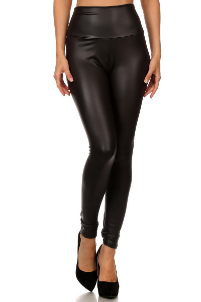 Matte High Waisted Black Faux Leather Leggings