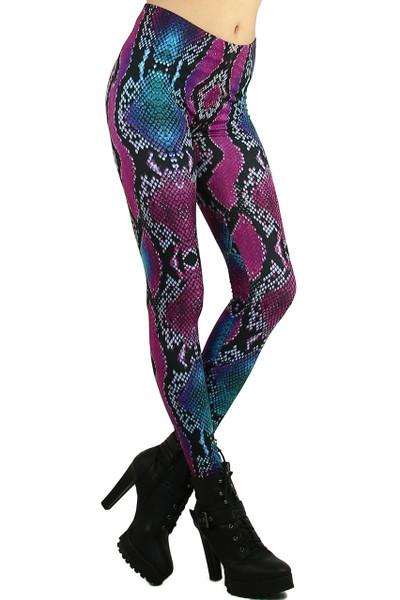 Colored Snakeskin Leggings