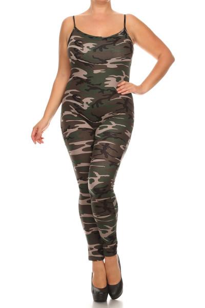Camouflage Spaghetti Strap Jumpsuit - Plus Size