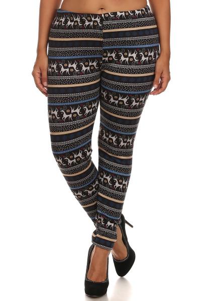 Elegant Reindeer Fur Lined Leggings - Plus Size