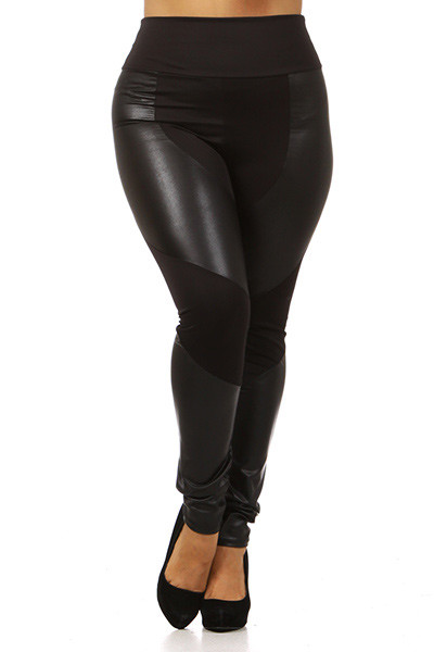 Chatelaine High Waisted Faux Leather Plus Size Leggings