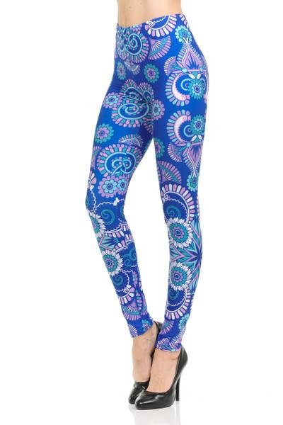 Blue Mandala Burst Leggings