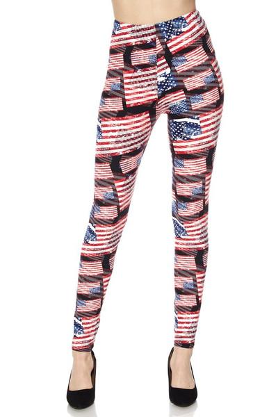 3D Hologram USA Flag Leggings