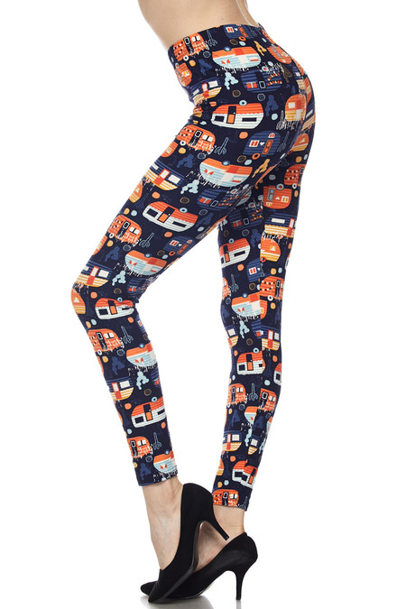 Brushed Colorful Camper Plus Size Leggings - 3X-5X