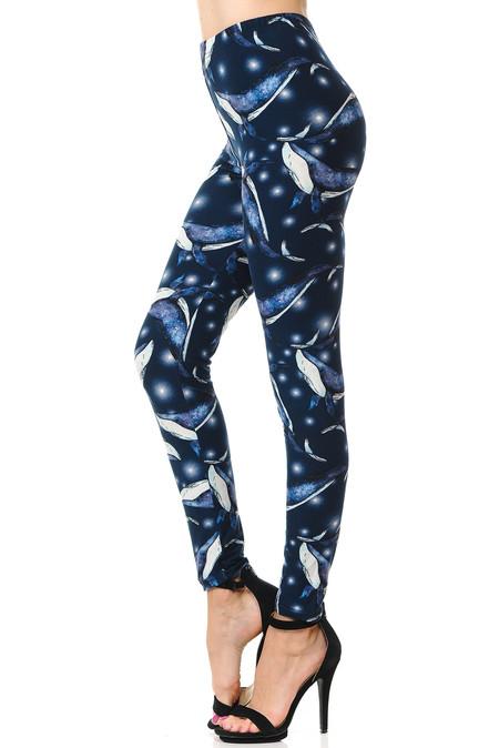 Brushed Blue Whale Plus Size Leggings - 3X-5X