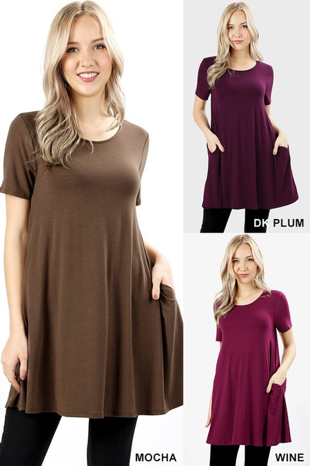 Round-Neck Straight Hem Tunic with Pockets