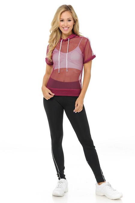 Premium Select Full Mesh Jacket with Slenderize Workout Leggings Set - Red