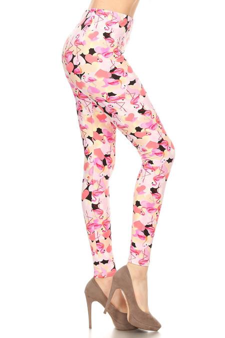Side of Soft Brushed Gorgeous Pink Flamingos Plus Size Leggings - 3X-5X