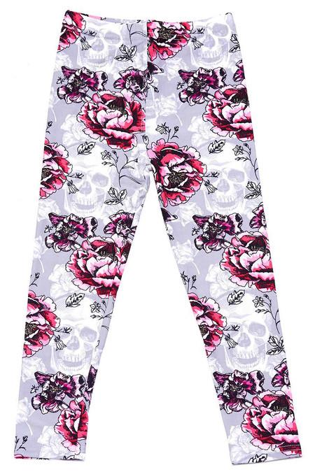 Soft Brushed Blooming Rose Skull Kids Leggings