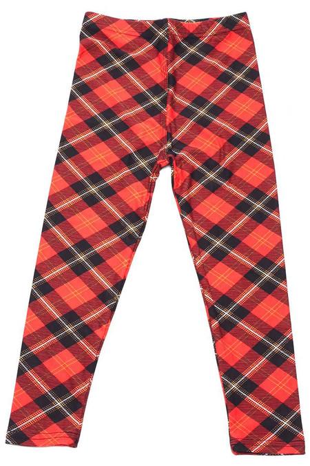 Brushed Classic Red Plaid Kids Leggings