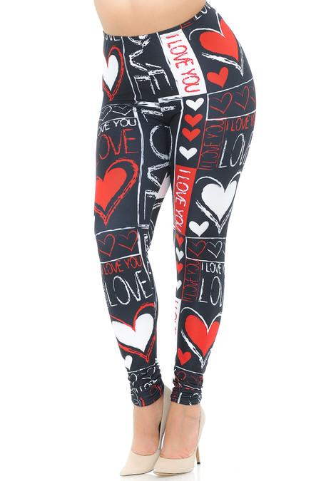 Creamy Soft Heart and Love Extra Plus Size Leggings - USA Fashion™