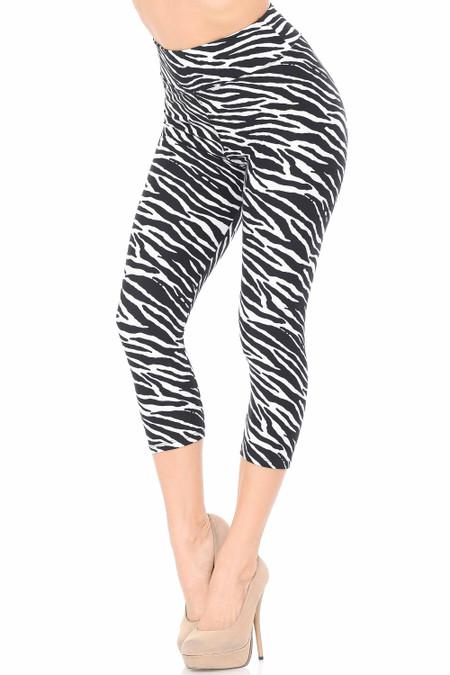 Brushed Zebra Print Capris - 3 Inch