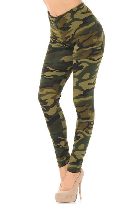 Brushed  Green Camouflage Leggings