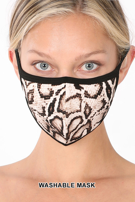 Brown Snakeskin Face Mask - Imported