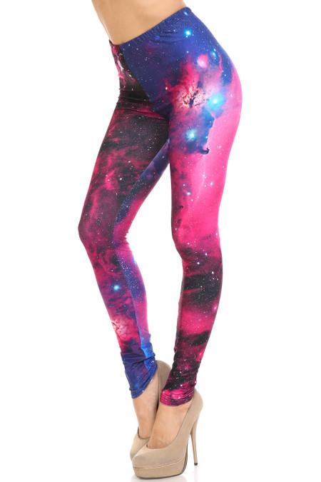 Creamy Soft Fuchsia Galaxy Leggings - USA Fashion™