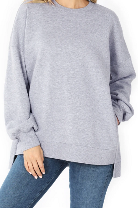 Front image of Heather Grey Crew Neck Hi-Low Pullover Top with Side Pockets