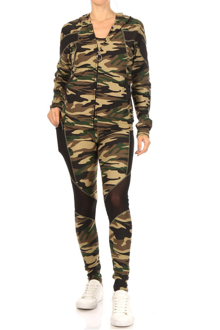 3 Piece Green Camouflage Mesh Mix Leggings Tank Top and Hooded Jacket Set