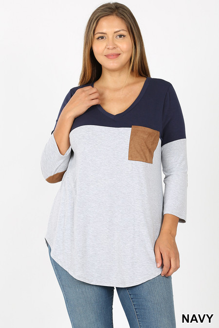 Front of Navy Color Block V-Neck 3/4 Sleeve Plus Size Top with Front Pocket