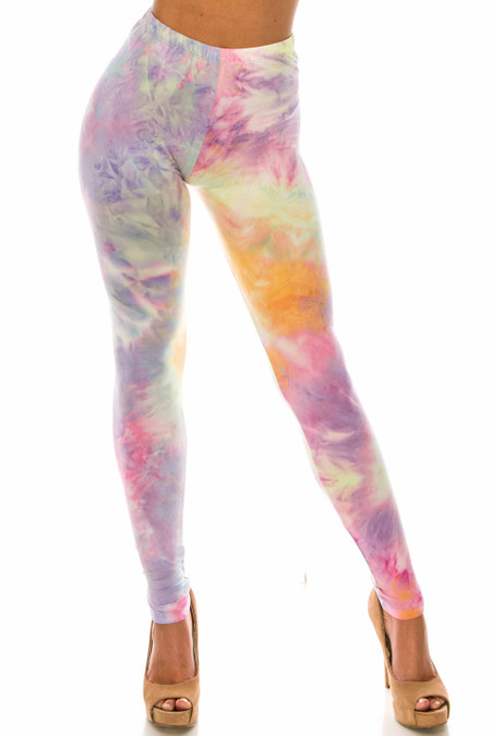 Buttery Soft Multi-Color Pastel Tie Dye Extra Plus Size Leggings - 3X-5X
