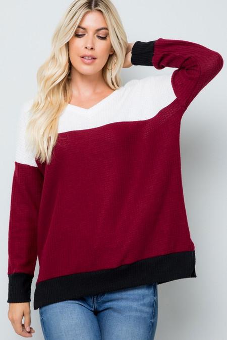 Burgundy Waffle Knit Color Blocked Long Sleeve V Neck Top