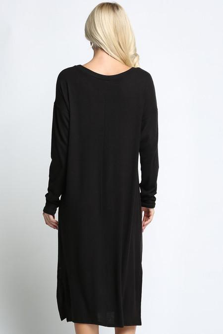 Black Long Sleeve Side Slit Midi Length Plus Size Sweater Dress