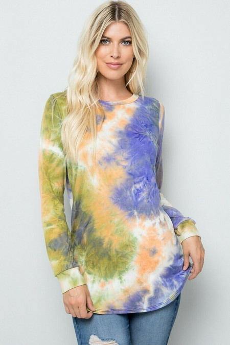 Olive Tie Dye Round Neck Long Sleeve Top