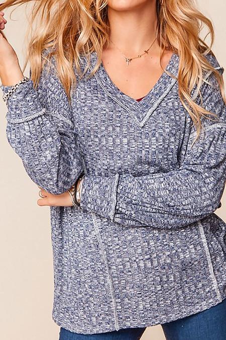 Two Tone Long Sleeve Outside Seam Rib Knit V-Neck Plus Size Top