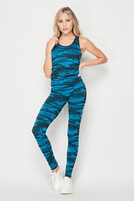 2 Piece Seamless Teal Camouflage Tank Top and Legging Set