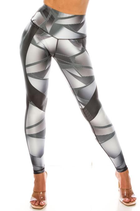 Steel Geo Wrap High Waisted Sport Leggings