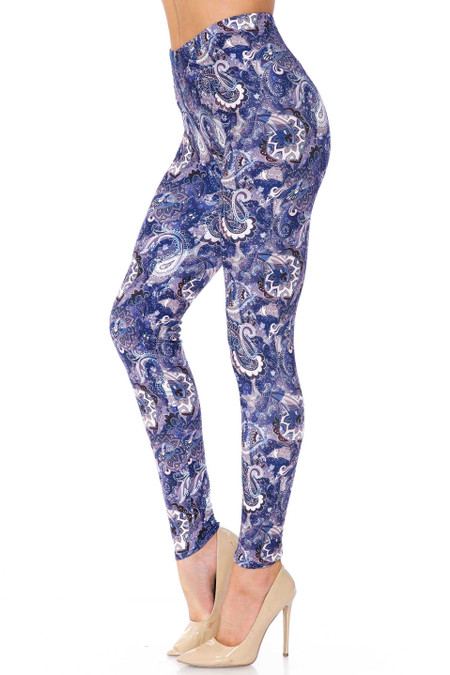 Creamy Soft Indigo Blue Paisley Extra Plus Size Leggings - 3X-5X - USA Fashion™