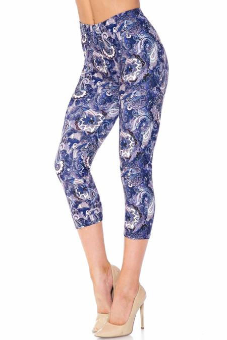 Creamy Soft Indigo Blue Paisley Capris - USA Fashion™