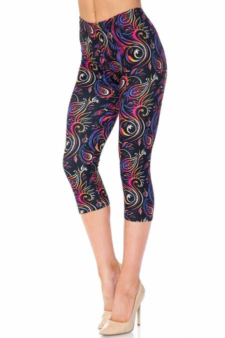 Creamy Soft Ombre Paisley Swirl Plus Size Capris - USA Fashion™
