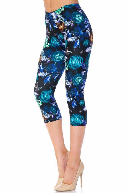 Creamy Soft Electric Blue Floral Butterfly Plus Size Capris - USA Fashion™